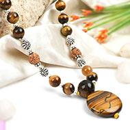 Tiger Eye and Rudraksha beads Mala