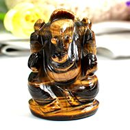 Tiger Eye Ganesha - 100 gms - Right Trunk
