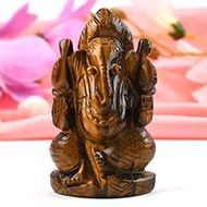 Tiger Eye Ganesha - 90 gms - Right Trunk