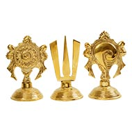 Tirupati Balaji Shanku Chakra Naama Set in brass