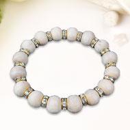 Tulsi bead bracelet with designer chakri - Gold polish