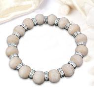 Tulsi bead bracelet with designer chakri - Silver polish