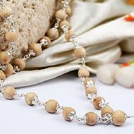 Tulsi beads mala in silver caps