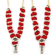 Velvet Red Rose Deity Garland - Set of 2
