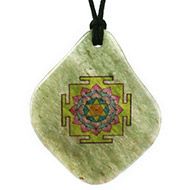 Vishnu Yantra Pendant on Green Jade