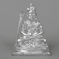 Meditating Shiva in pure silver