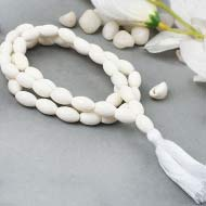 White Coral mala - Barrel shaped beads
