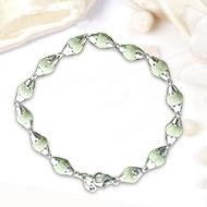 White Tulsi Beads Bracelet in flower silver caps