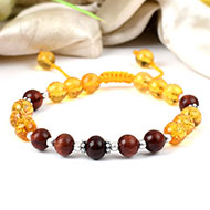 Yellow Citrine and Red Sandalwood Bracelet
