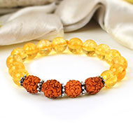Yellow Citrine and Rudraksha Beads Bracelet