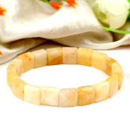 Yellow Jade Bracelet - Square Beads