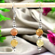 Faceted Double Beads Yellow Saphire Earrings