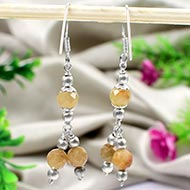 Faceted Beads Yellow Sapphire Earrings