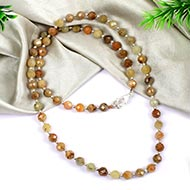Faceted Beads Yellow Sapphire Necklace Mala