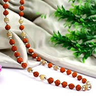 Yellow Sapphire Mala with Rudraksha - Faceted Beads